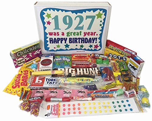 90th Birthday Gift Box Of Nostalgic Retro Candy From Childhood For A 90 Year Old Man Or Woman Born In 1927 Click Image More Details