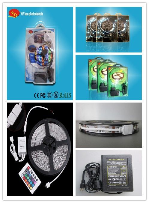 Led strip in kits/household led strips,include 5 meters(or 1M/2M/3M) led strips,24keys/44keys RGB controller and 12V6A power supply. LED Light SouM/rce:SMD 5050 Input Voltage(V):12V Lamp Power:14.4W/M Working Temperature(℃):-40 - 60 Working Lifetime(Hour):50000 Lamp Body Material:FPC Certification: CE, RoHS,  Emitting Color:RGB Place of Origin:Anhui, China (Mainland) Model Number:YY-HS-5050WW60B High quanlity:12V/24V
