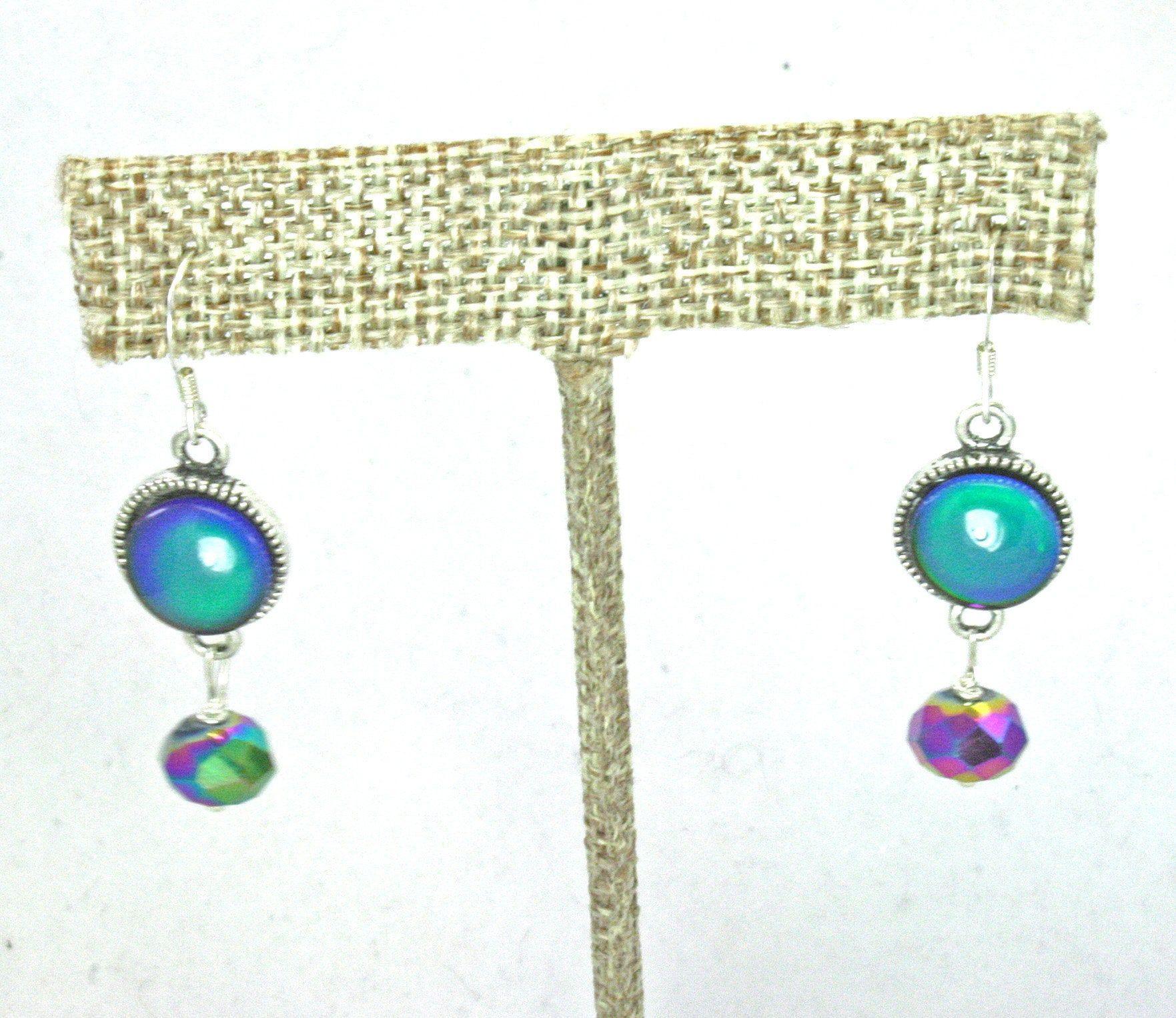 Vintage Peacock Green Cross Dainty Wrap Bangle Bracelet with Crystal Earrings