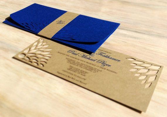 Handmade Wedding Invitation DIE Cut Kraft Simple by TheFindSac