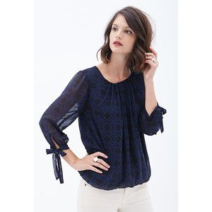 aa4579c81172 LOVE 21 CONTEMPORARY Pleated Puzzle Print Top | fashion | Tops, Work ...