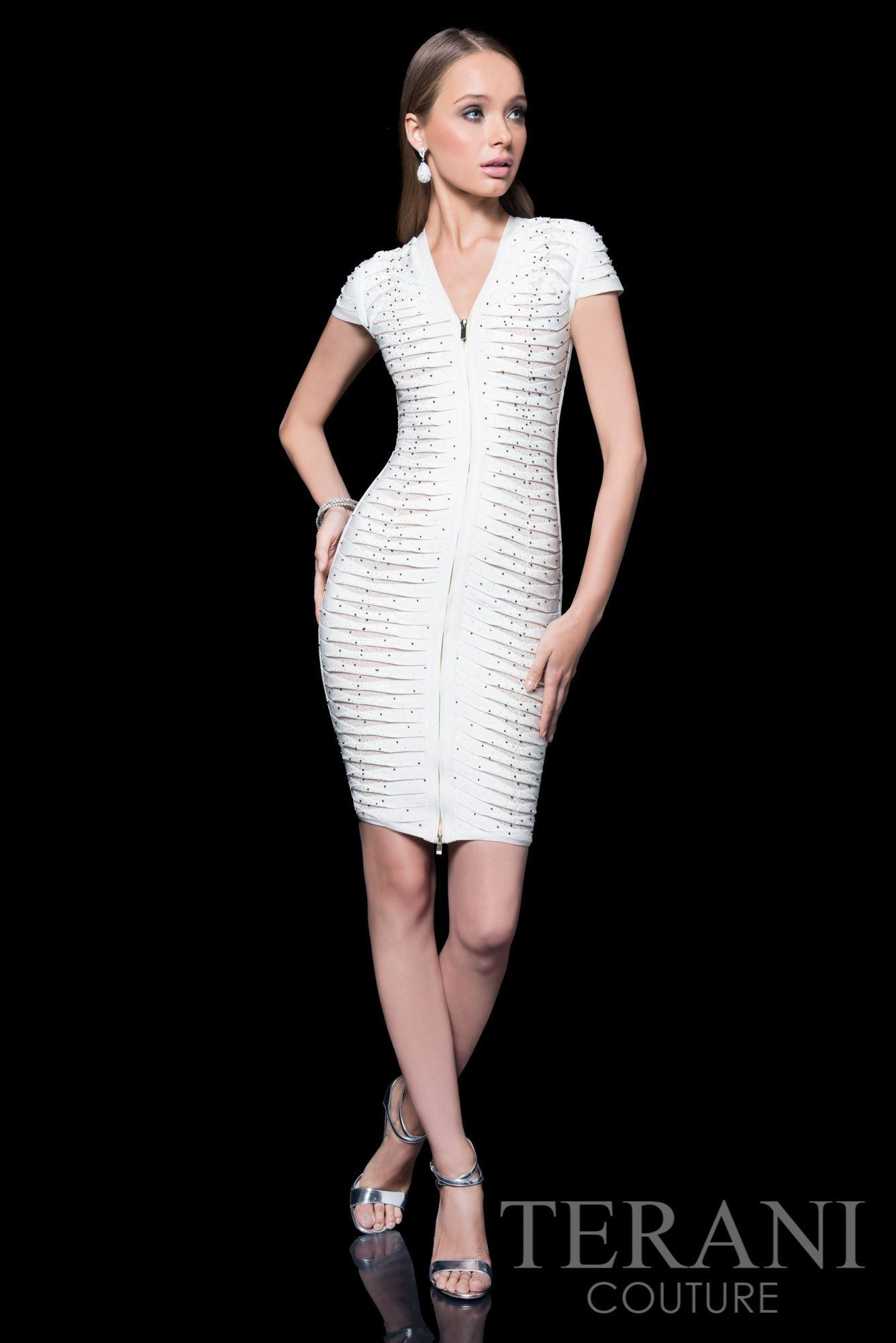 Terani Couture cap sleeve cocktail dress with plunging v-neckline ...