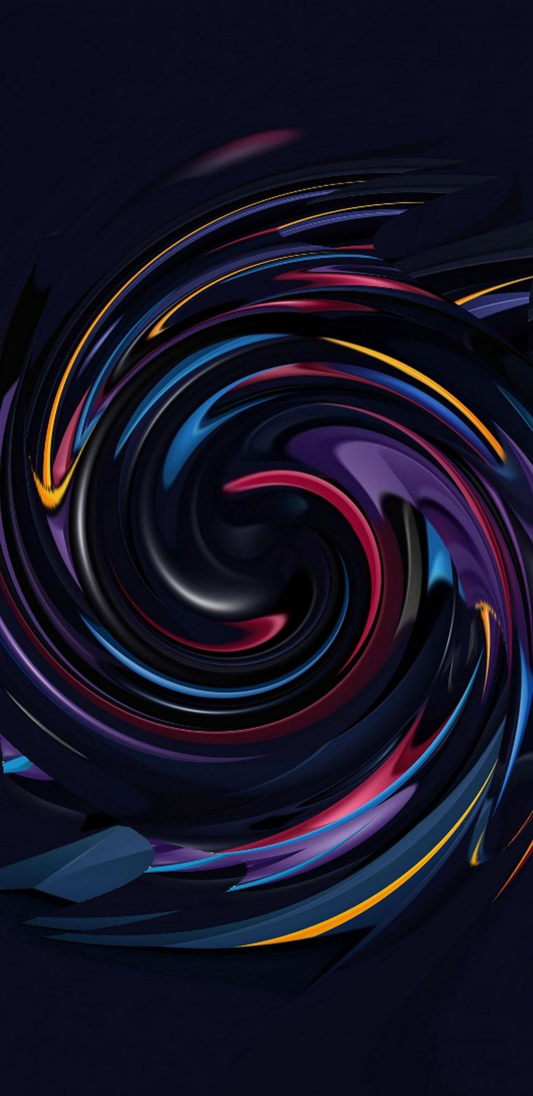 Abstract Black And Colourful Fluid Ink Spiral Colorful