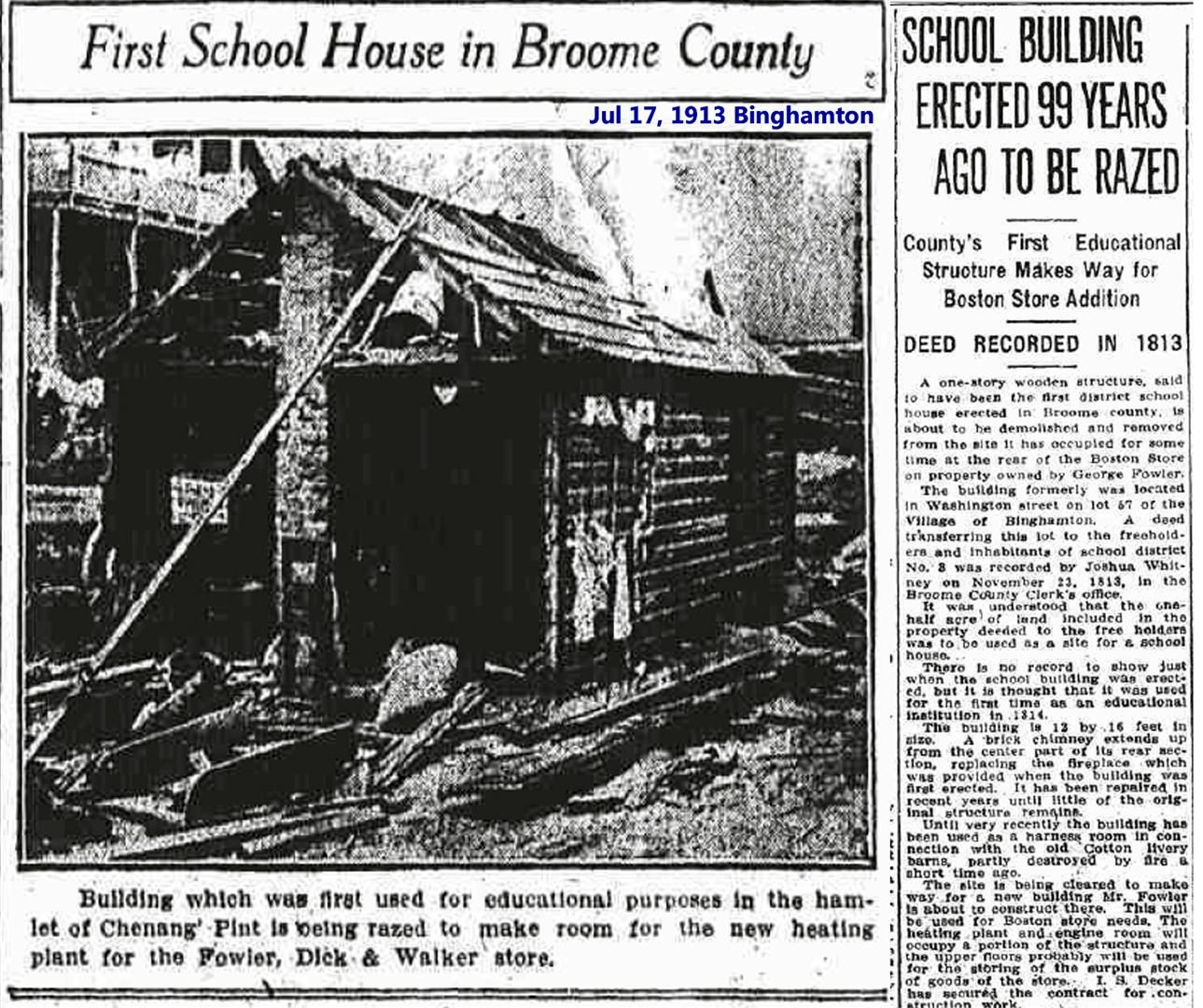 First School House In Binghamton Ny Torn Down 1913 Binghamton Johnson City Hometown
