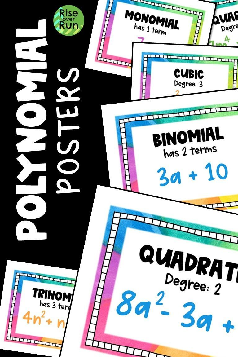Classifying polynomials reference posters word wall