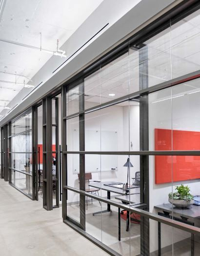 Bronze Vertical and Horizontal Mullions, Quiet, 1/2 in. Glass, Mitered Corners, Integrated Aluminum Frame Sliding Doors - Spaceworks Architectural Interiors