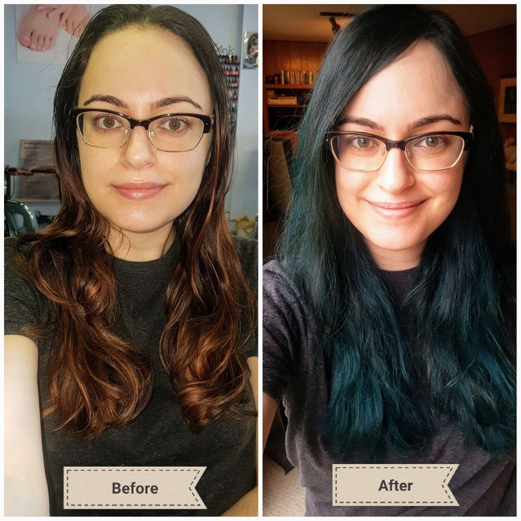 Transformed A Red Balayage Into A Dark Turquoise Blue Green