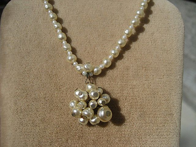 Vintage Miriam Haskell Baroque and Round Faux Pearl Necklace with Dangle