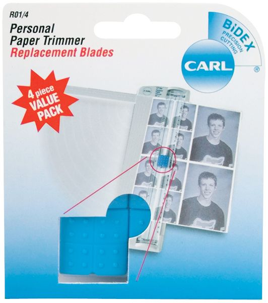 Carl Brands Carl Personal Paper Trimmer Replacement Blades 4/Pkg - Straight - CARL BRANDS-4 replacement blades for the personal paper trimmer. Precision cutting. Carriages are blue.. SKU: .