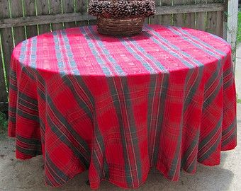 Extra Large Round Table Cloth.Vintage Christmas Tablecloth In Red Scotch Plaid With Green And Gold