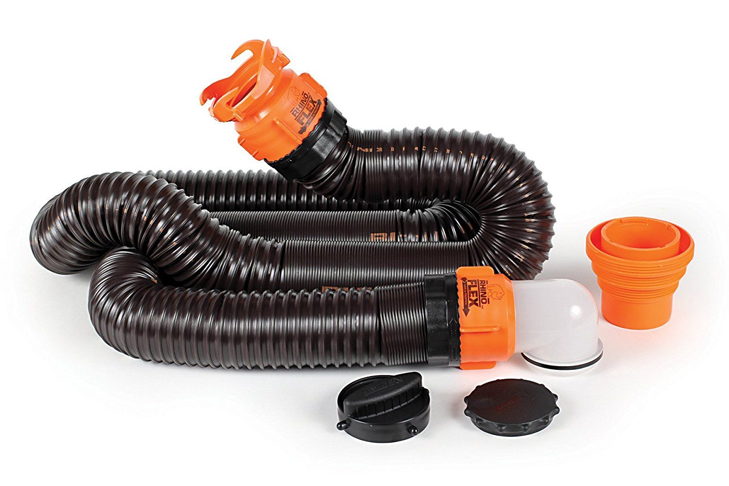 Amazon Com Camco Rhinoflex 15ft Rv Sewer Hose Kit Includes Swivel Fitting And Translucent Elbow With 4 In 1 Dump Station Fitting Storage Ca Camco Hose Sewer