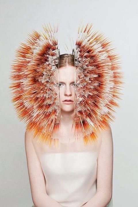 """Maiko Takeda ~《ATMOSPHERIC REENTRY》~  """" by layering printed clear film, sandwiched with acrylic discs and linked together with silver jump rings."""" ~ http://www.dezeen.com/2013/06/01/atmospheric-reentry-by-maiko-takeda/ ~  http://www.spoon-tamago.com/2013/09/30/atmospheric-reentry-otherworldly-headdresses-by-maiko-takeda/"""