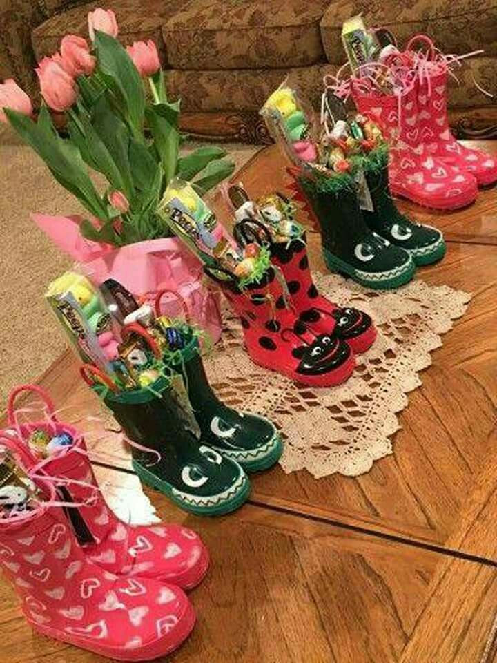 Rubber boots diy gifts pinterest easter easter baskets and when easter comes in april i like this idea for kids rainboot easter baskets negle Image collections