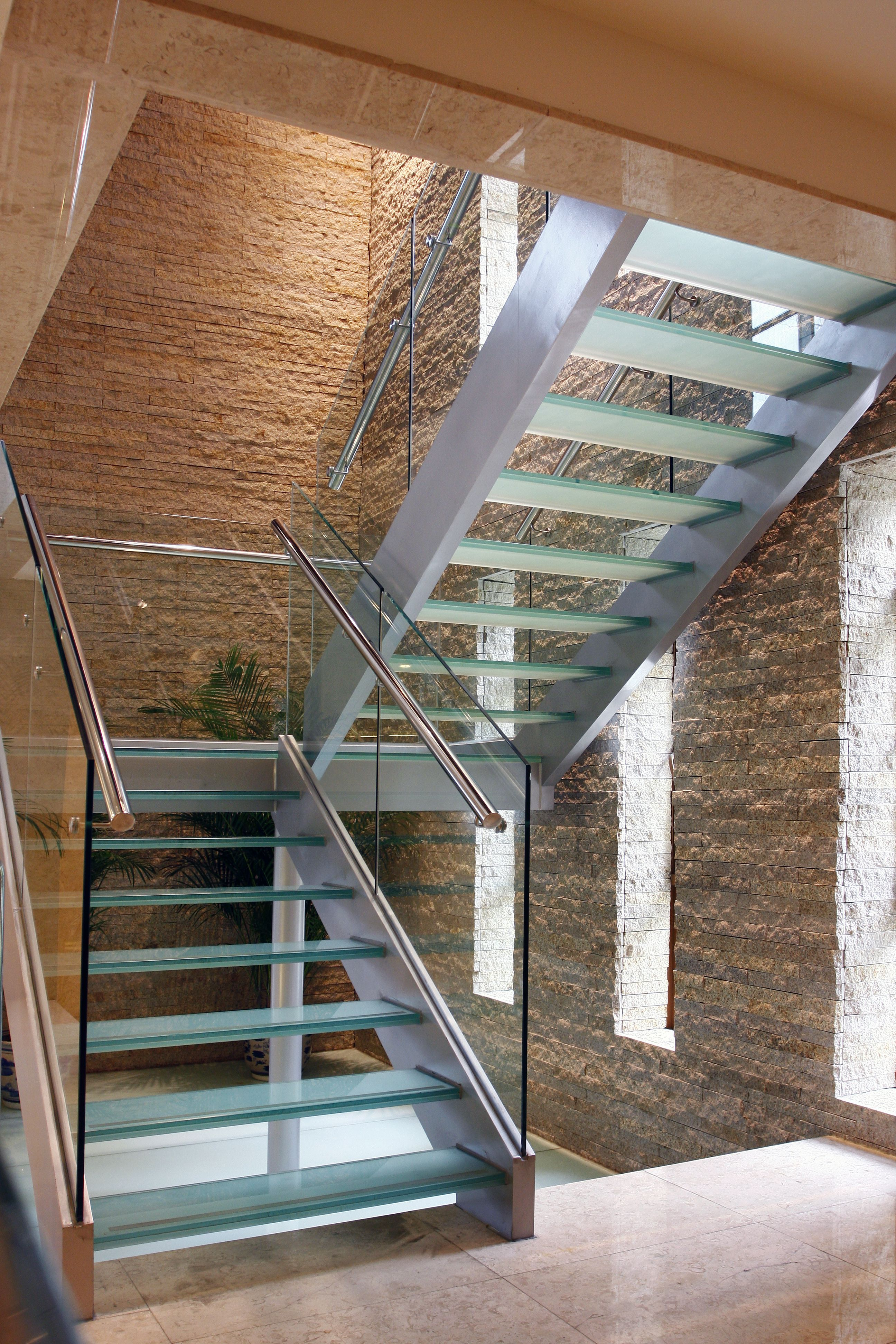 Staircase With Glass Steps (Treads) And Closed Steel Stringers Metal