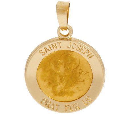 14K Gold Polished Round Saint Pendant