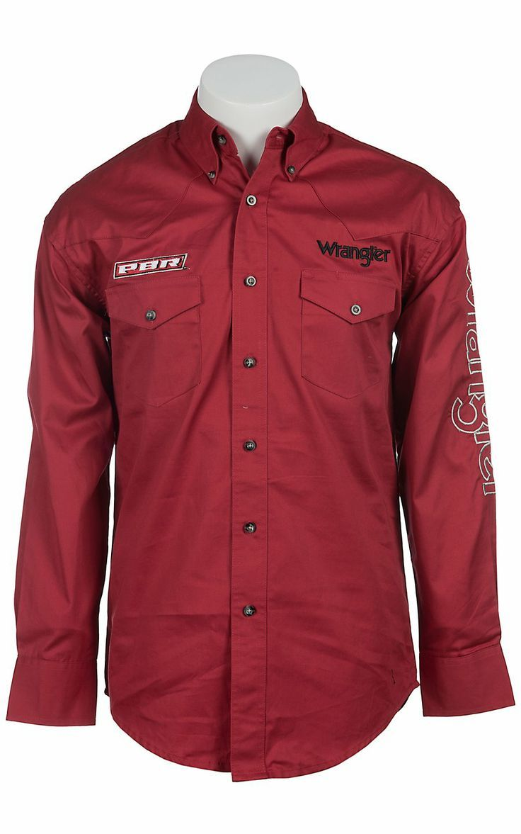 02a2bf6646 Wrangler® Red PBR Logo Long Sleeve Western Shirt Camisa Vaquera
