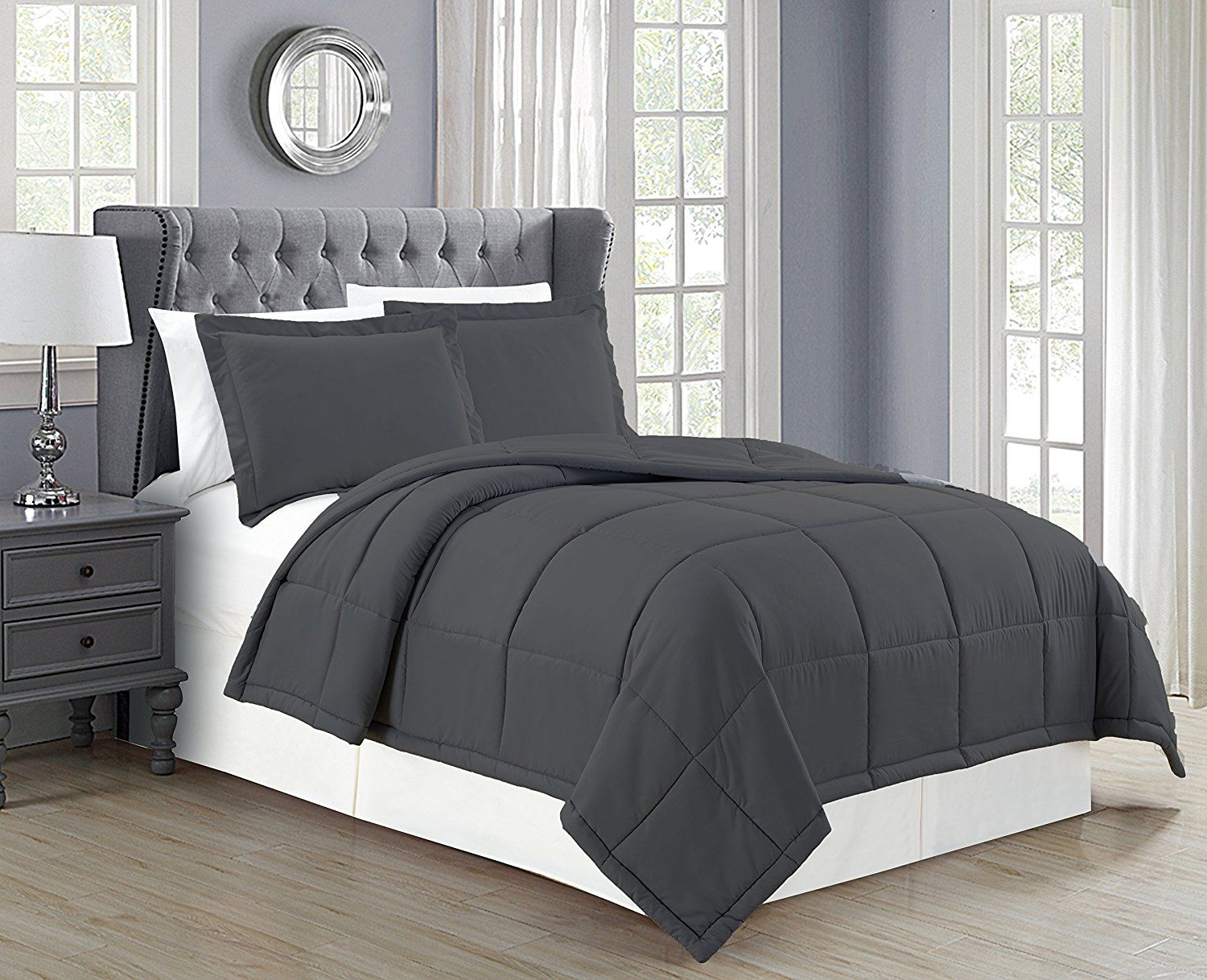 ae7ca4f05123 Mk Collection Down Alternative Comforter Set 3pc King Solid Charcoal/Dark  Grey New