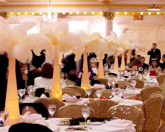 Masquerade Ball Wedding Page 2 A Standard Tablescape With Ostrichfeathercenterpiece Http