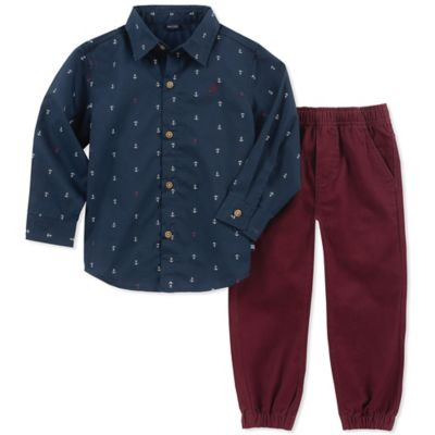 Nautica Boys 2 Pieces Shirt Pants Set