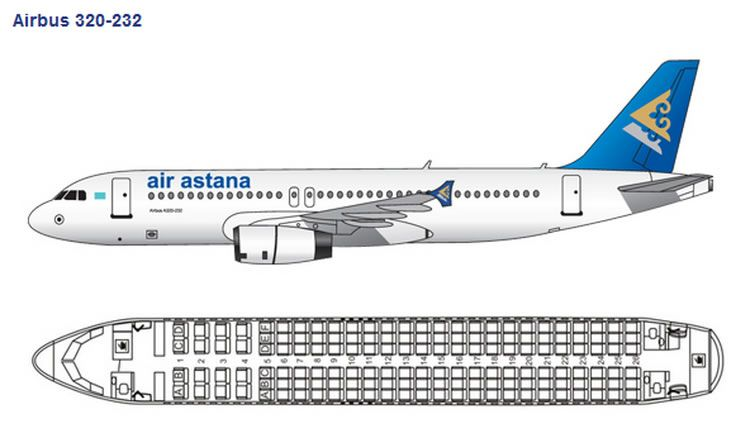 AIR ASTANA AIRLINES AIRBUS A320 AIRCRAFT SEATING CHART ...