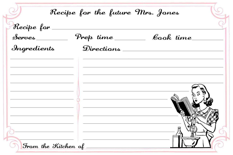 Printable Recipe Card Bridal Shower Recipe Card For The Bride