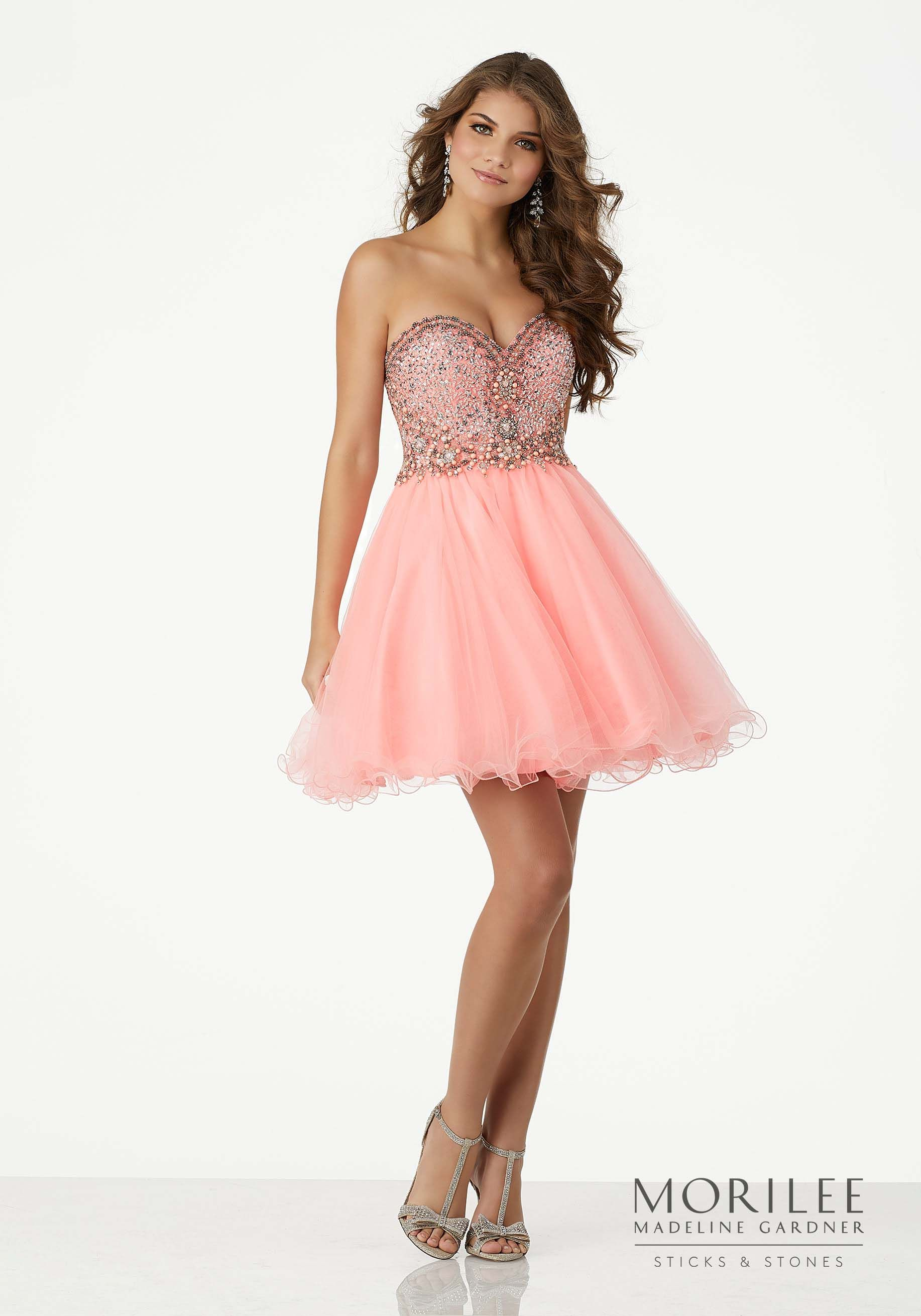 Blush Pink Beaded Tulle Homecoming Dress with Strapless, Sweetheart ...