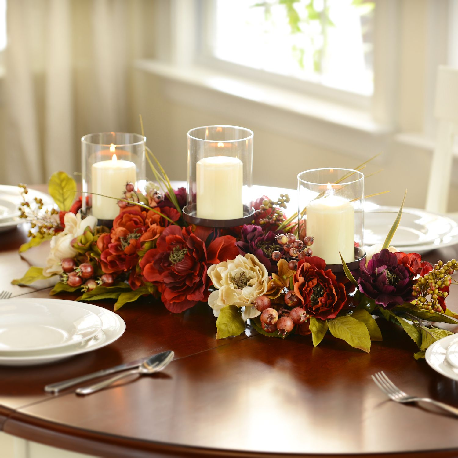 Find Your Center With Our Peony Candle Centerpiece The Combination Of Deep Pur Floral Candle Centerpieces Dining Room Table Centerpieces Candle Centerpieces