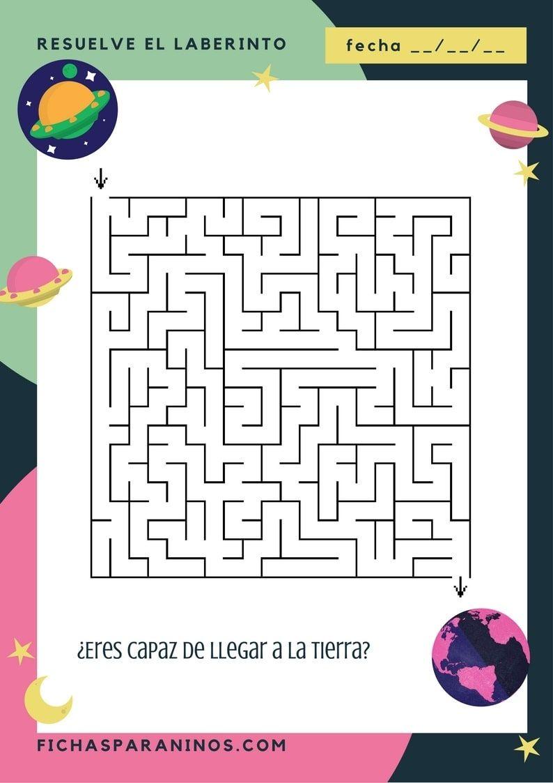 Fichas De Pasatiempos De Laberintos Para Niños Para Descargar E Imprimir Vienen Con Decoración Del Espacio Son Para Niños Website Crossword Puzzle Resources