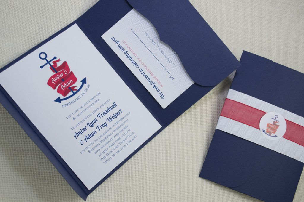 Nautical Themed Anchor Wedding Invitations with envelope seals