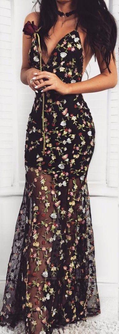 16393ba1e8 Vestido Longo   Floral Transparente