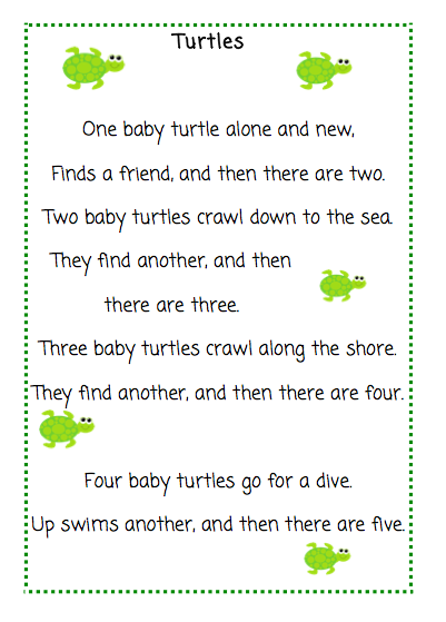 The Very Busy Kindergarten  Turtles Poem