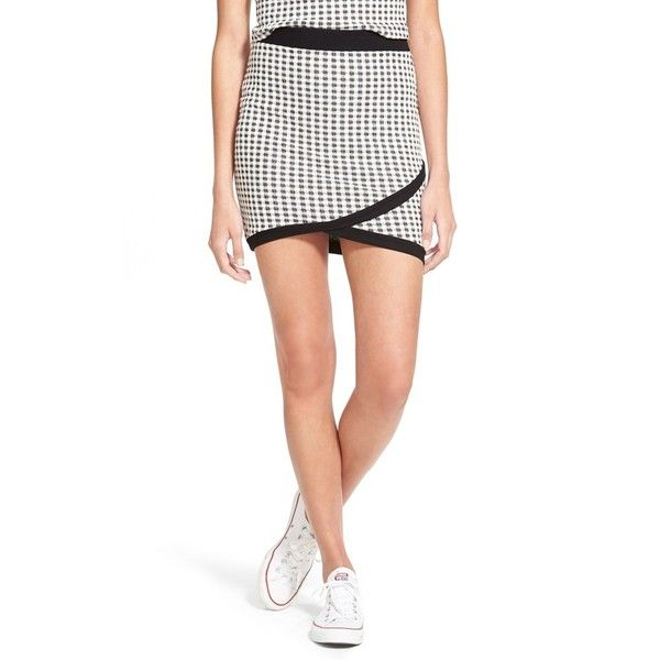 83c4e5112 Junior Lush Check Knit Miniskirt ($18) ❤ liked on Polyvore featuring skirts,  mini skirts, short skirts, short white skirt, mini skirt, checkered skirt  and ...