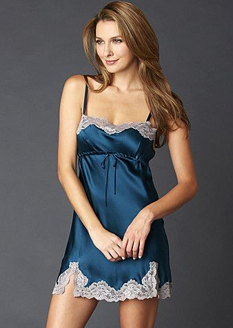 Sapphire silk looks especially lovely with contrasting silvered lace. Sweet Indulgences silk chemise via Julianna Rae.