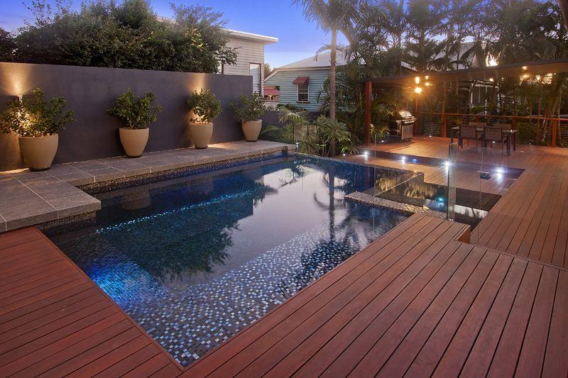 Timber deck brisbane australia pool deck deck for Wood pool deck design