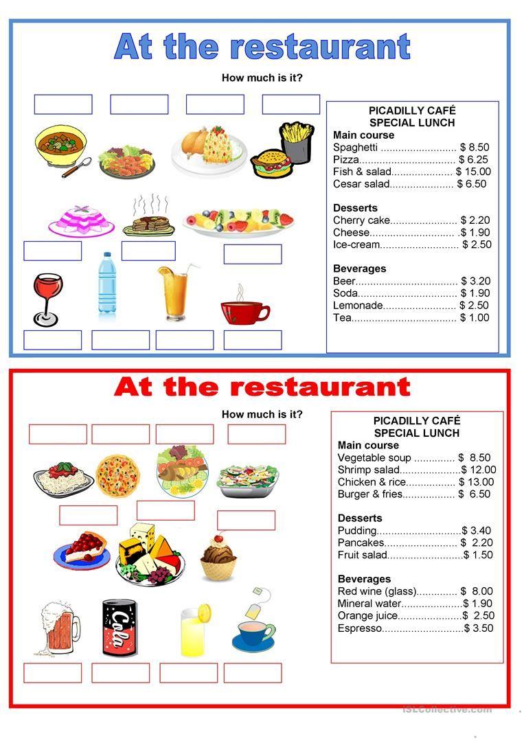Pairwork Food At The Restaurant Worksheet Free Esl Printable Worksheets Made By Teachers Food Cost Restaurant English Food [ 1079 x 763 Pixel ]