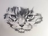 The cat drawing that I drew with a fineliner   pen drawing