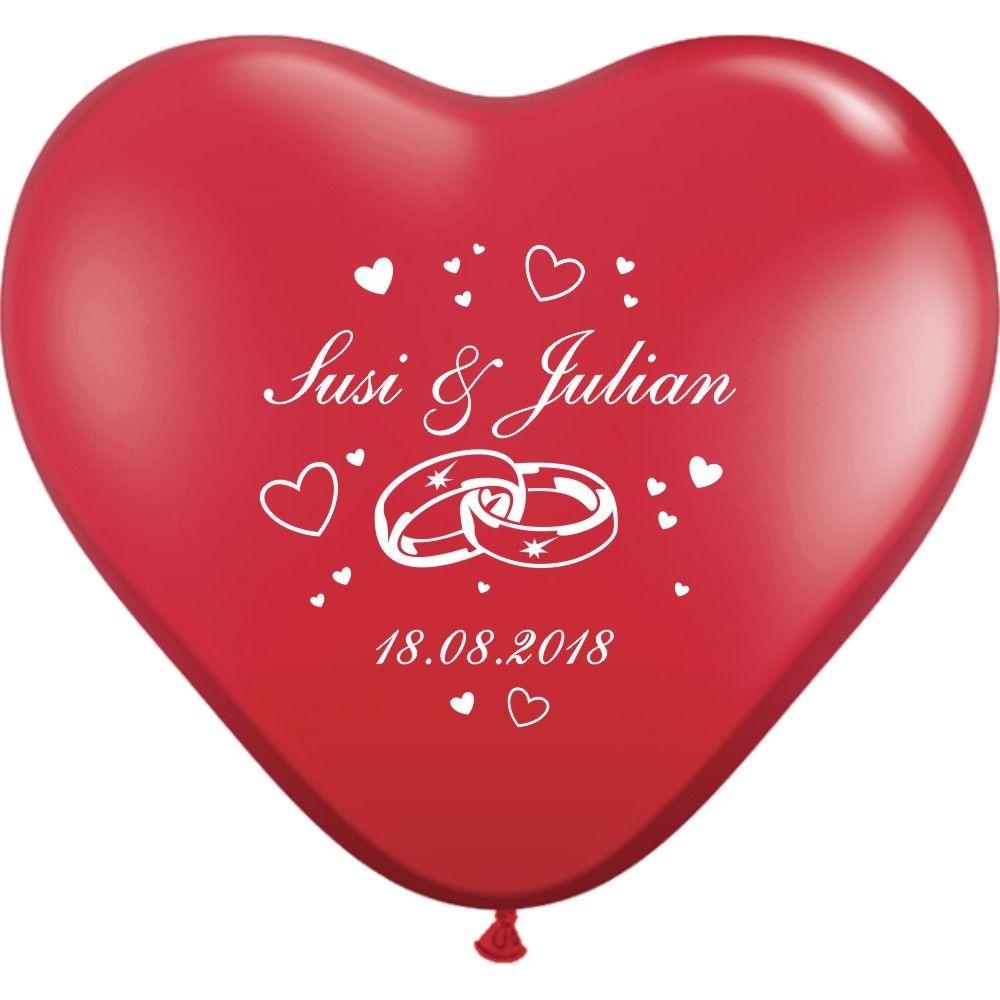 Herzluftballons Bedrucken Ringe Namen Datum O 25 Cm Ballondruck Schmucke Deine Hochzeit Mit Unseren Bed Herzluftballons Bedrucken Ideen Fur Die Hochzeit