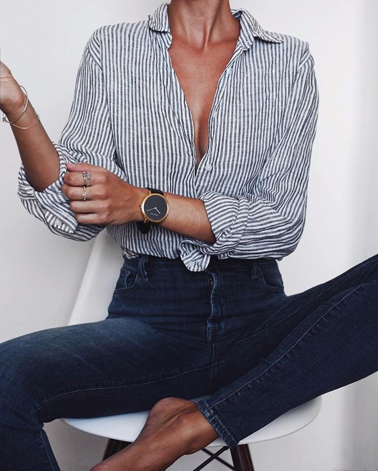 Vertical-striped button down, dark wash high waist jeans, classic watch ♥