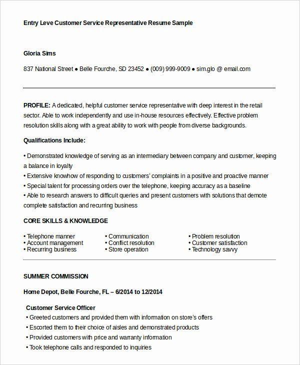 Entry Level Customer Service Resume Inspirational Customer