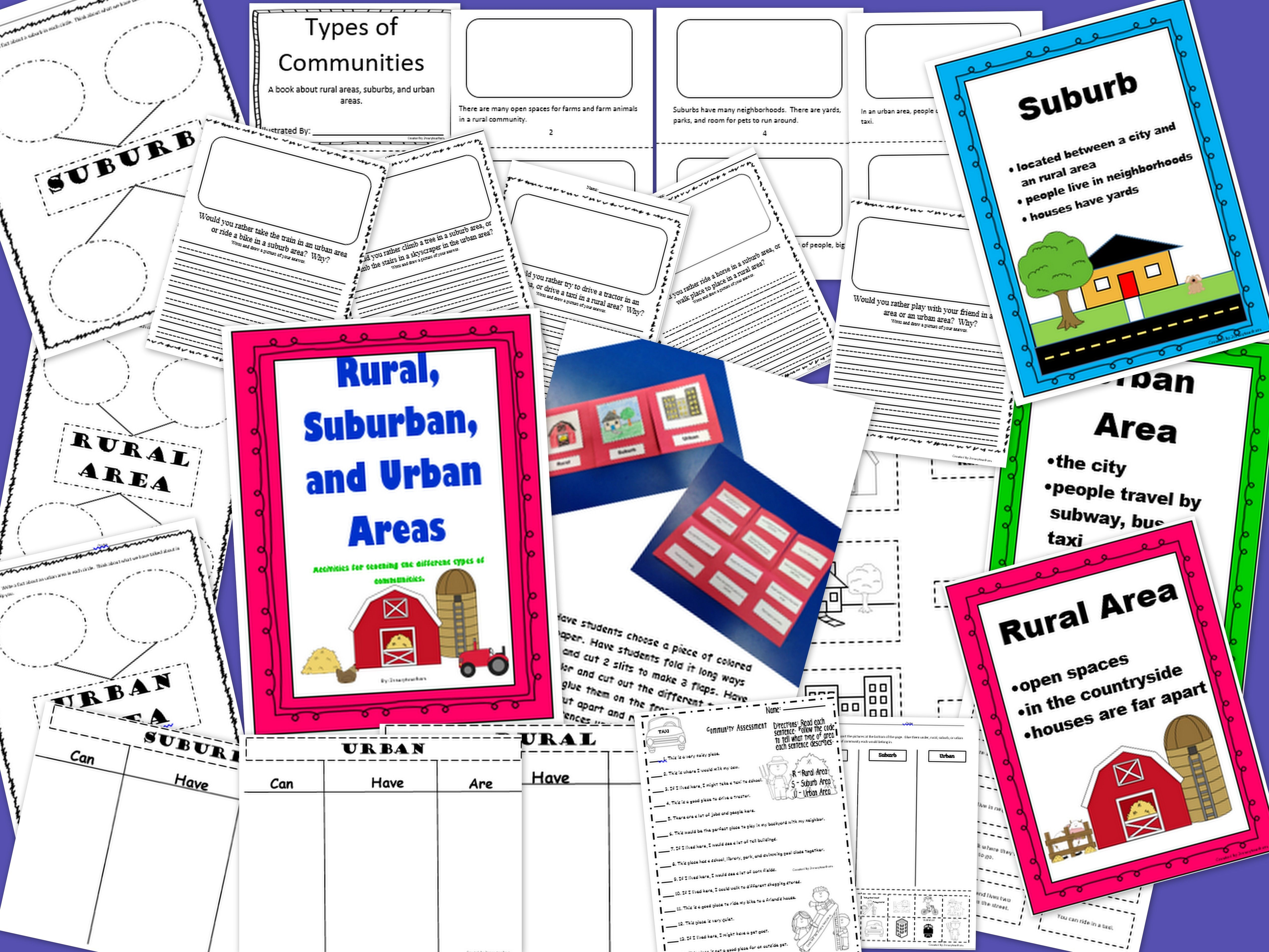 Rural Suburb Urban Areas Foldable And Activities