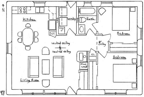 very comfortable small house floor plan for my mother who cant climb a ladder - Small Ranch House Plans