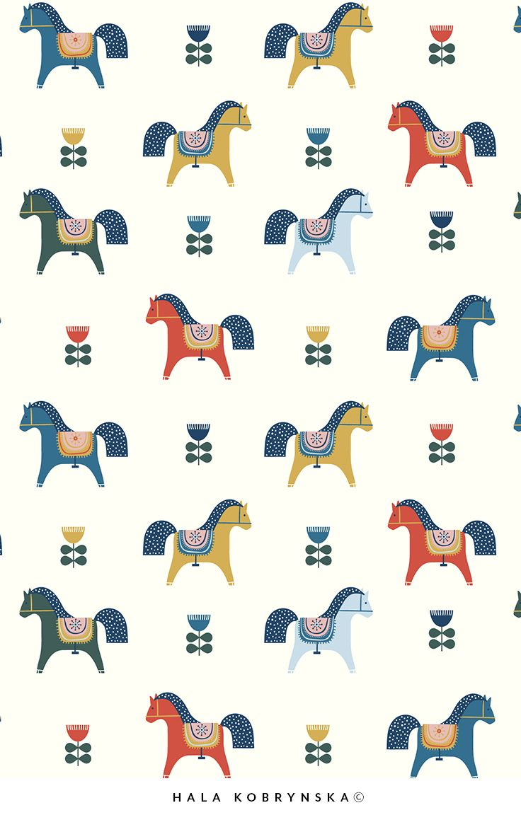Pattern with horses inspired by scandinavian art. Scandinavian dala horse. Scandinavian flowers
