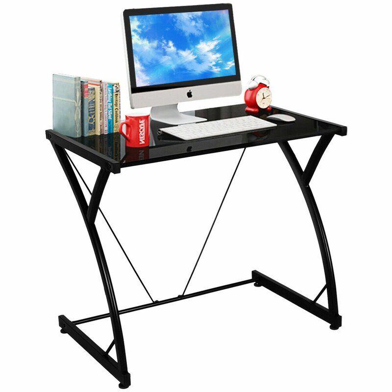 Heger Glass Desk Glass Computer Desks Computer Desk With Shelves Furniture