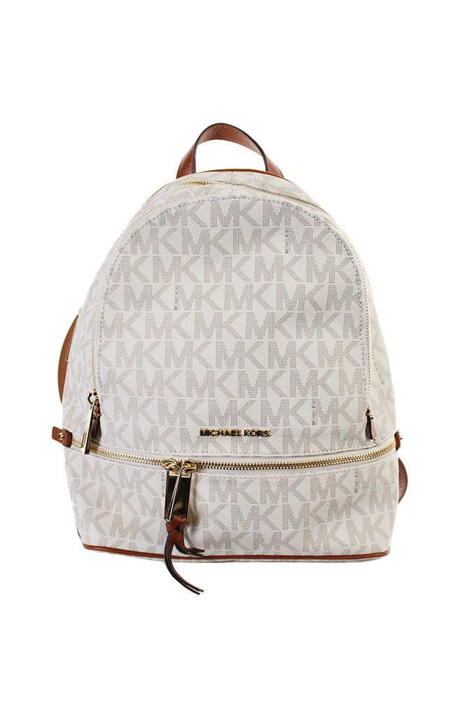 96afd2794c73 Michael Kors New Vanilla Signature Rhea Zip Medium Backpack OSFA  298
