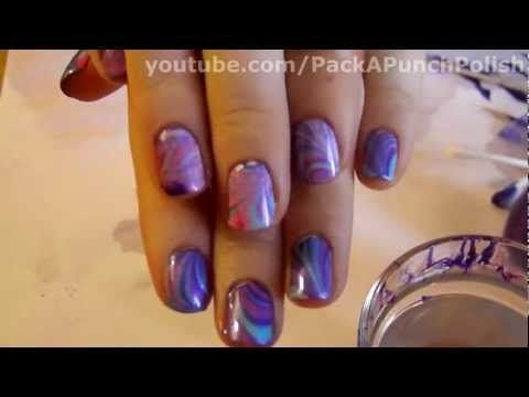 How To Water Marble Nail Art Tutorial Step By Step Nail