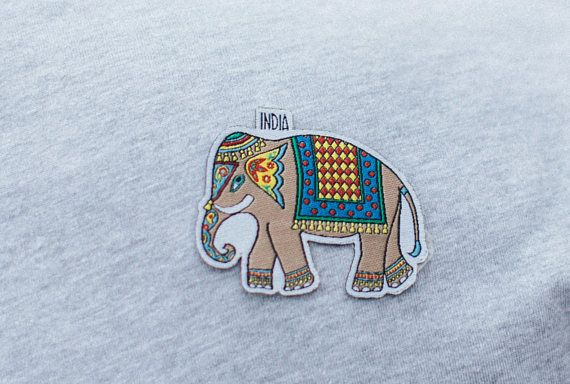 Travel Patch India Elephant Etsy Travel Patches Iron On Embroidered Patches Elephant India