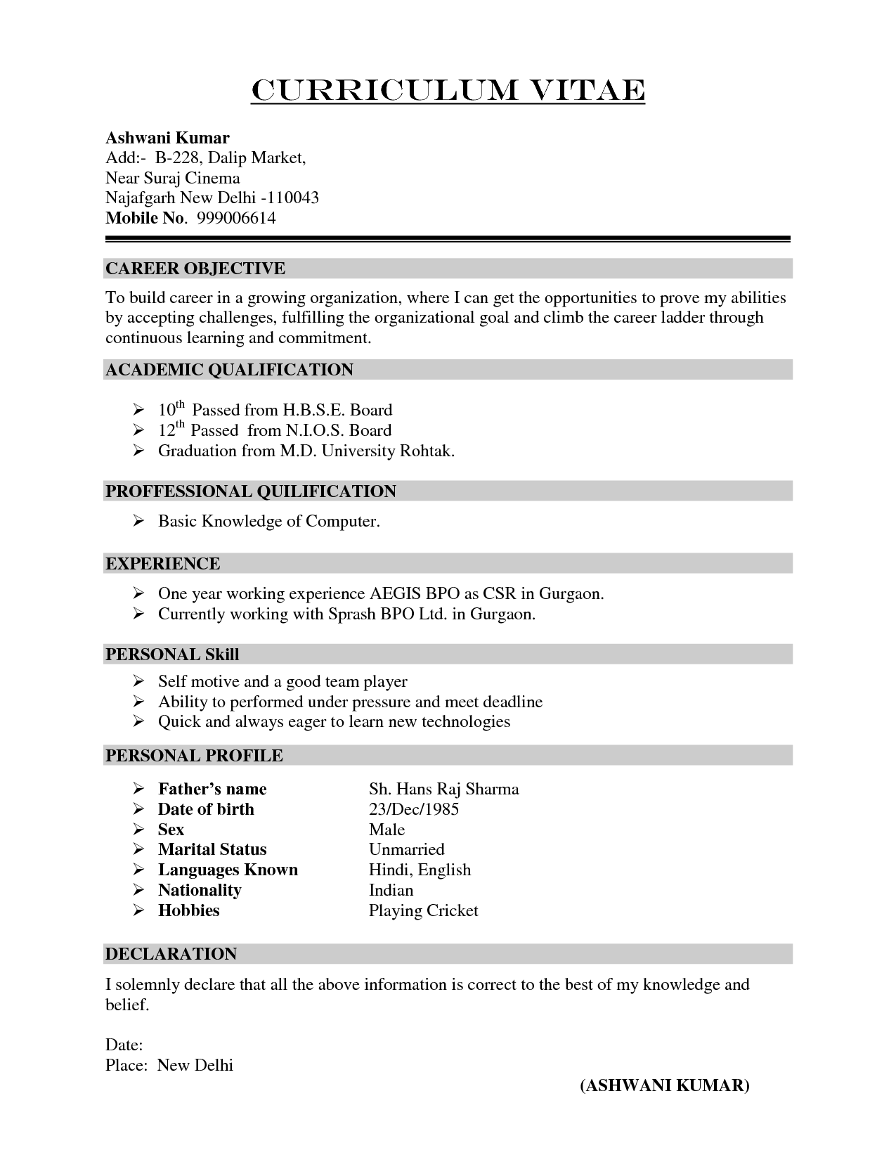 Simple Resume Format In Doc With Simple Resume Format Free