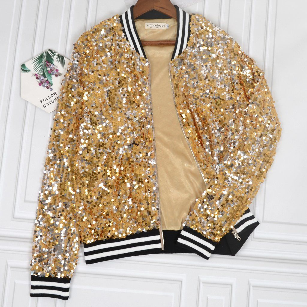 FASHION FAIRIES Womens Long Sleeve Sequin Glitter Bomber Jacket Ladies Full Sleeve Biker Coat