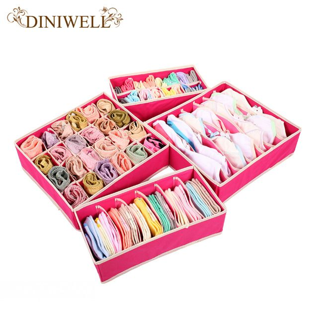 DINIWELL 4PCS Storage Boxes For Ties Socks Shorts Bra Underwear Divider  Drawer Lidded Closet Organizer Ropa
