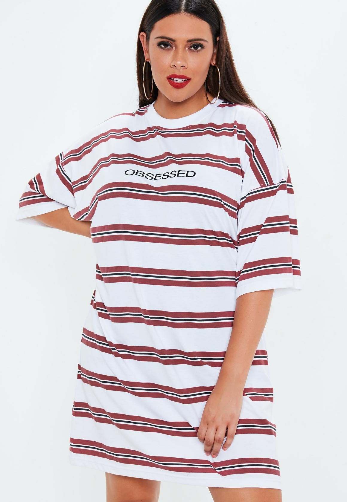 Missguided - Plus Size White Obsessed Oversized T Shirt Dress ...